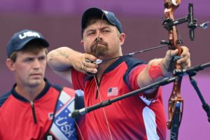 USA's Brady Ellison and Jacob Wukie compete in the men's team eliminations during the Tokyo 2020 Olympic Games